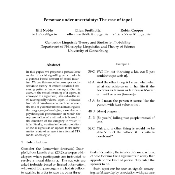 Personae under uncertainty: The case of topoi - ACL Anthology