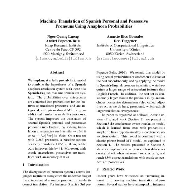Machine Translation of Spanish Personal and Possessive Pronouns Using  Anaphora Probabilities - ACL Anthology