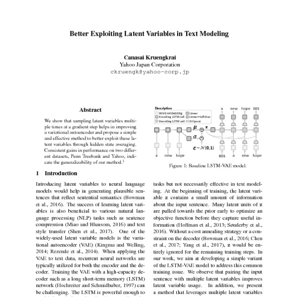 Better Exploiting Latent Variables in Text Modeling - ACL