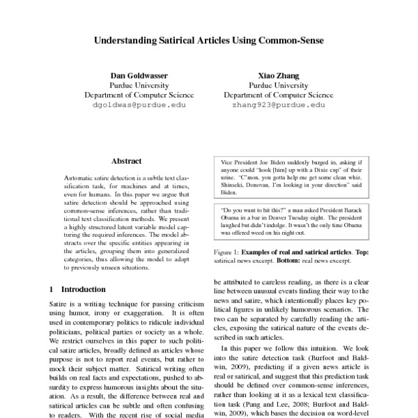 Understanding Satirical Articles Using Common Sense Acl Anthology