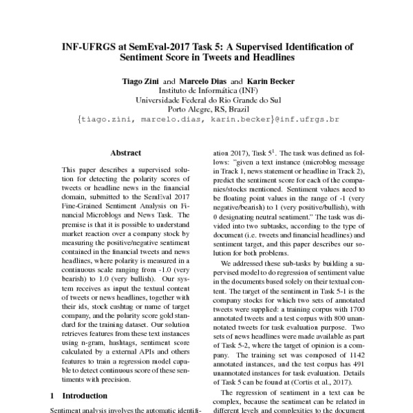 INF-UFRGS At SemEval-2017 Task 5: A Supervised