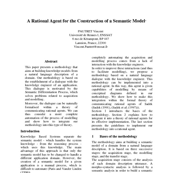 A Rational Agent for the Modelling of a Semantic Model - ACL Anthology