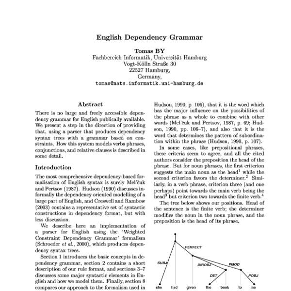 English Dependency Grammar - ACL Anthology