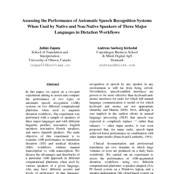 Assessing the Performance of Automatic Speech Recognition