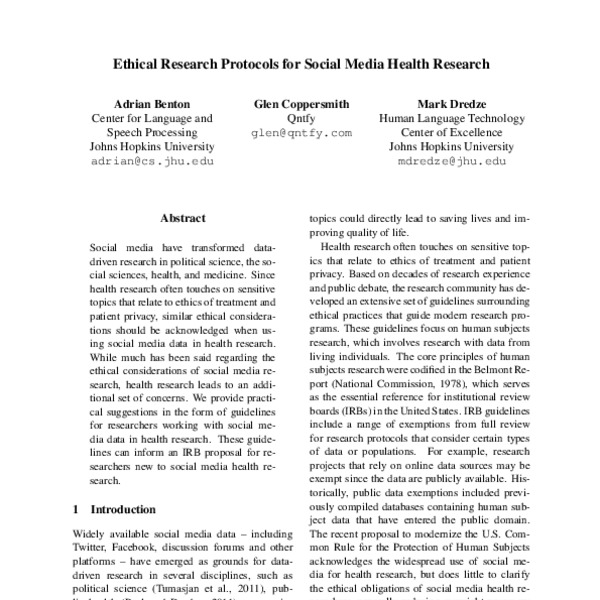 Ethical Research Protocols For Social Media Health