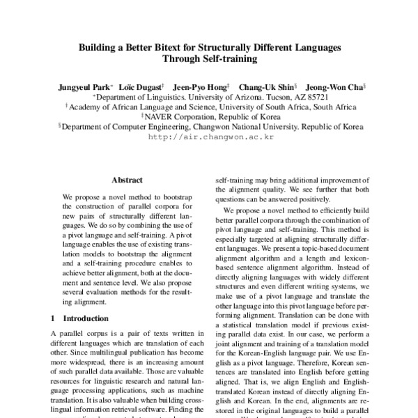 Building A Better Bitext For Structurally Different Languages Through Self Training Acl Anthology