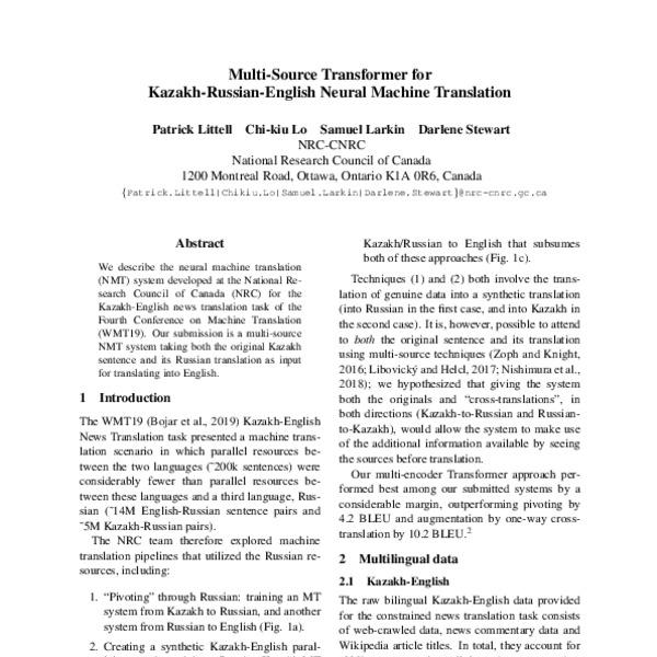 Multi-Source Transformer for Kazakh-Russian-English Neural Machine  Translation - ACL Anthology