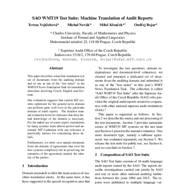 SAO WMT19 Test Suite: Machine Translation of Audit Reports