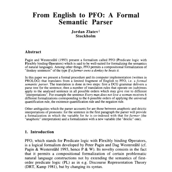 From English to PFO: A Formal Semantic Parser - ACL Anthology
